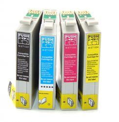 Kit c/ 4 cartuchos Compatíveis Epson T1331 Black /1332/1333/1334 - TX235W TX320F TX420W TX430W